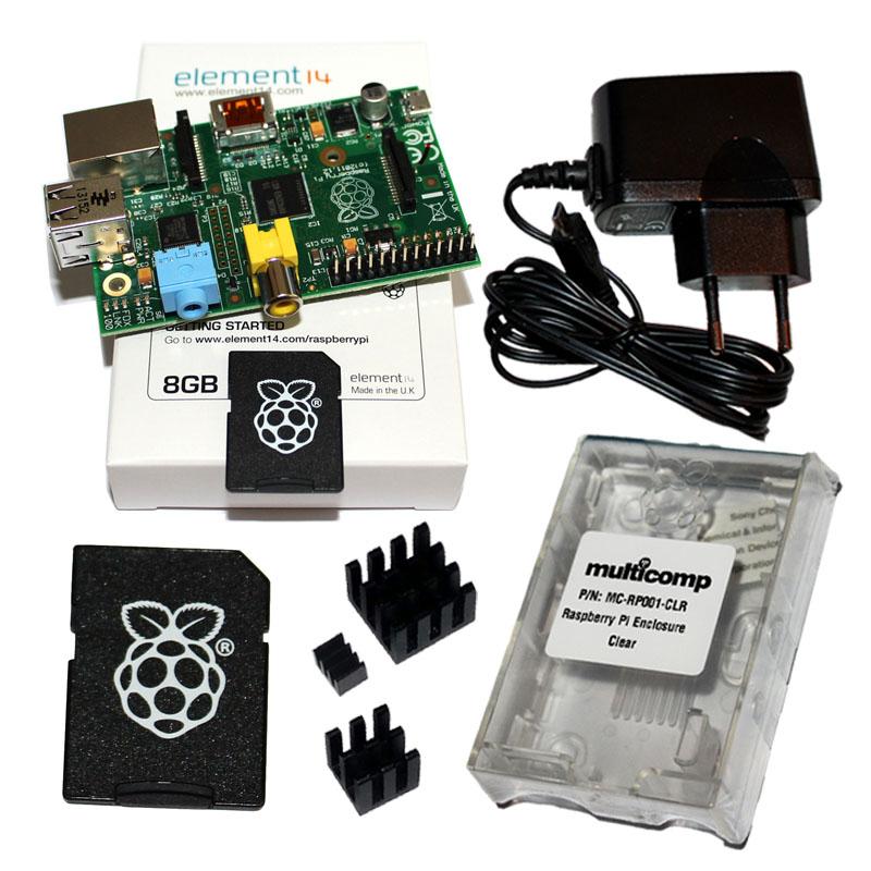 Raspberry-Pi-Modell-B-512MB-mit-Gehaeuse-Netzteil-Kuehlkoerper-und-8GB-SD-Karte